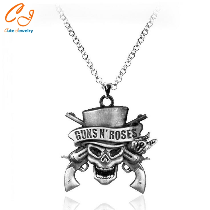 Hot Sale GUNS N' ROSES GNR Necklace Band Jewelry Skull Logo Metal Pendant Necklaces For Fans