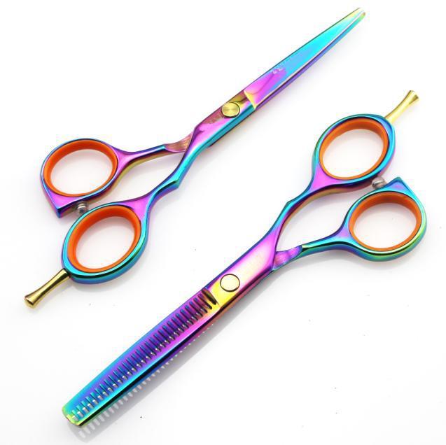 724713cd6 5.5 de polegada titânio 440c tesouras de cabeleireiro profissional barbeiro  corte tesoura queda de cabelo frete grátis