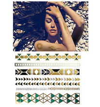 280 special design hand bracelet glitter metallic gold sexy nake woman body skin safe temporary tattoo sticker for hand