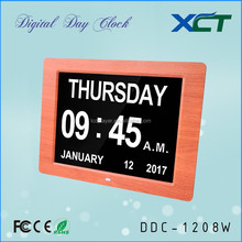 12 inch wooden date-time function table clock for seniors elderly dementia alzheimer impaired vision DDC-1208W