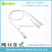 USB 3.0 A Male to Micro-B Power Extension Y Cable For Hard Drive Disk HDD