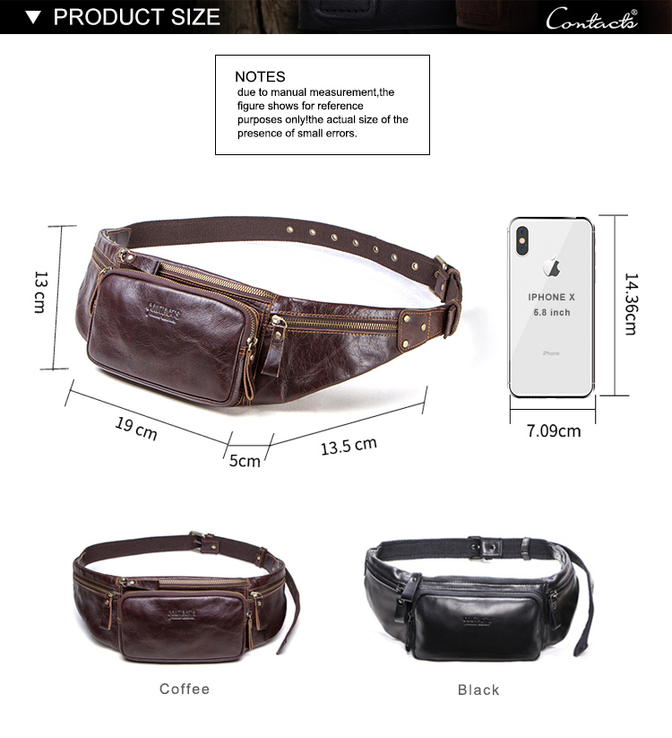dropship contact's 2019 wholesale factory genuine leather vintage fashion waterproof belt bag fanny packs for men waist bag