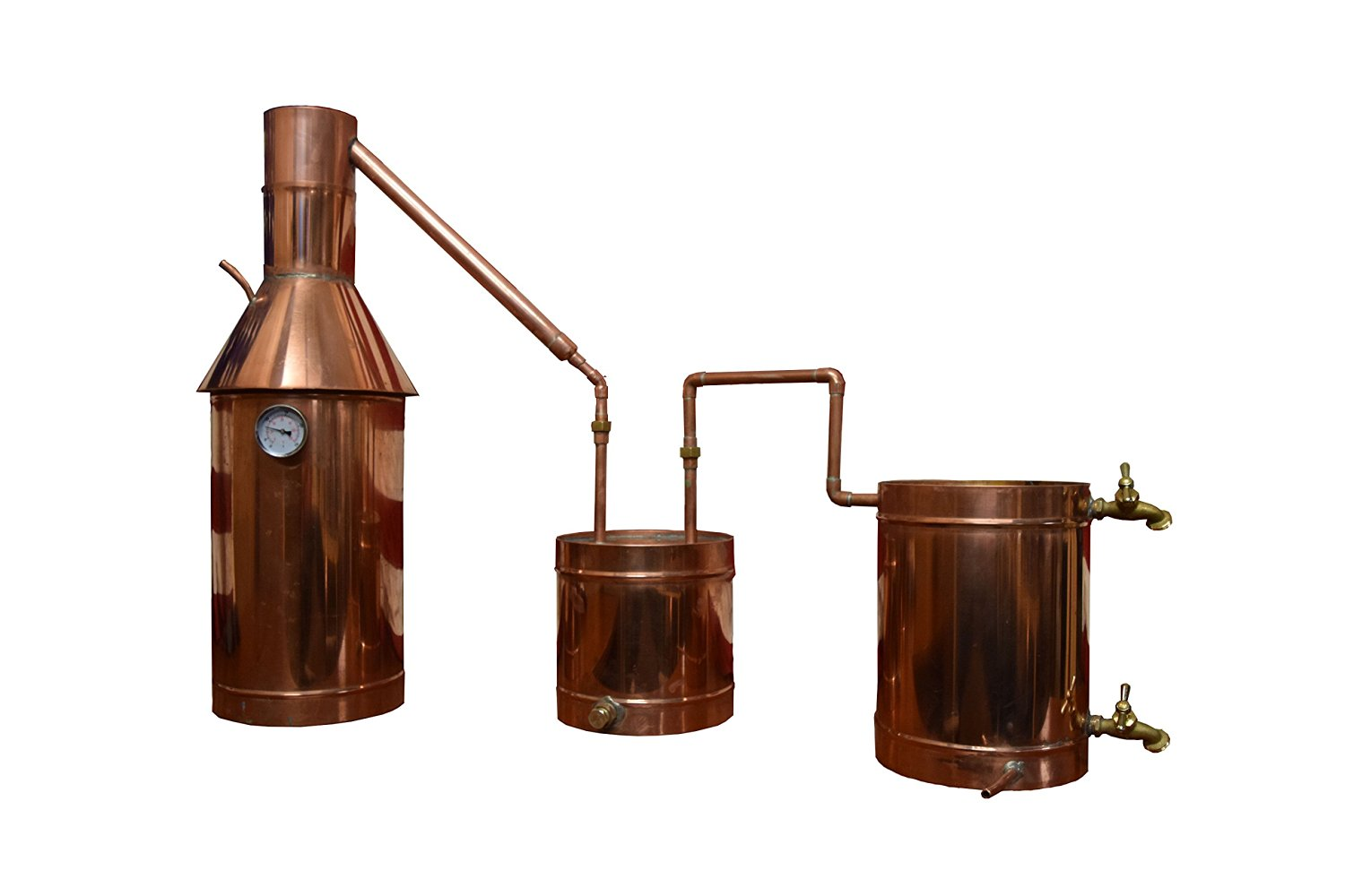The Distillery Network® Flame FlowTM Custom Engraved 6 Gallon Professional Grade Moonshine Water Alcohol Spirits Complete Still Assembled Copper Still With Thumper Worm Cap Temperature Gauge