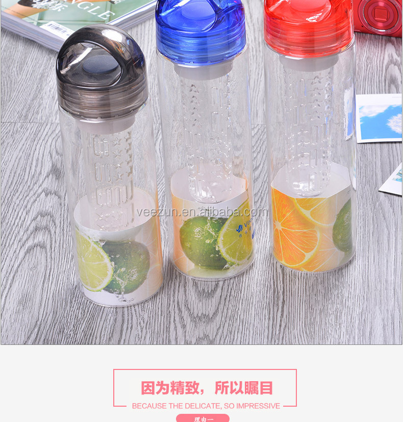 Double/Single wall Custom Coffee Travel Wholesale BPA Free Fruit Infuser Plastic Sport Water Bottle