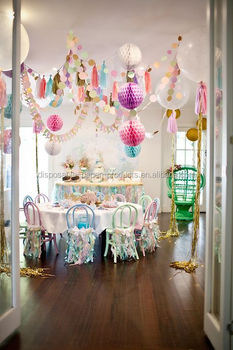 Sparkly Mermaid Party Backdrop Decor Ideas Tissue Paper Pom Poms