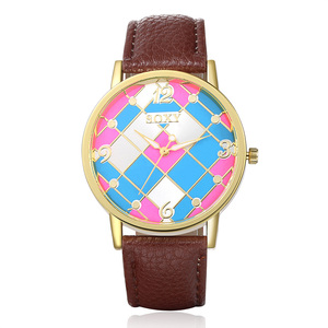 Stylish Clock Brand Watch Women Popular Quartz Watch 5 colors Fashion Leather Watch Relogio Feminino Graffiti Wristwatch