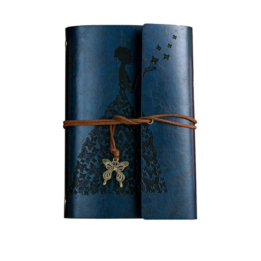 Fashionme Leather Journal A6 Retro Vintage Spiral Bound Notebook Refillable Diary Writing Sketchbook Notepad Guest Book with Refillable Blank Craft Paper as Gift (Blue, A6)