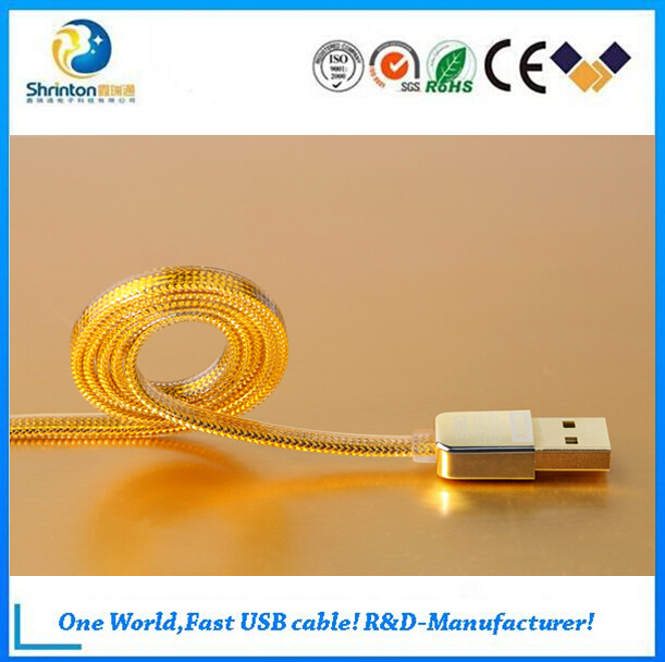 Top quality Remax golden usb data 1m flat charging usb cable