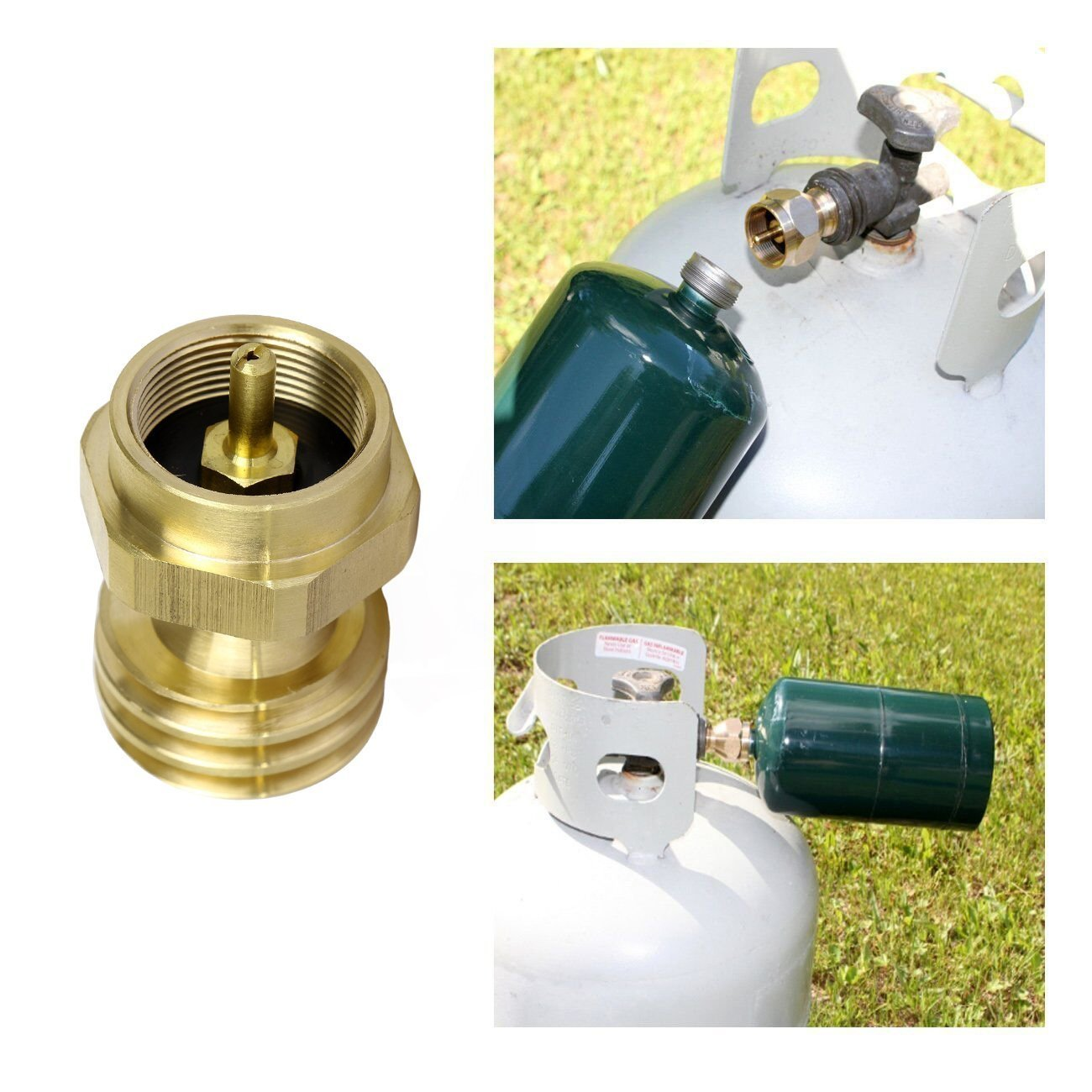Ridgeyard Brass 1 Pound Propane Tank Connector Propane Refill Adapter Gas Grill Valves Steel Propane Cylinder with Type 1 for All 1 LB Throwaway Disposable Cylinder