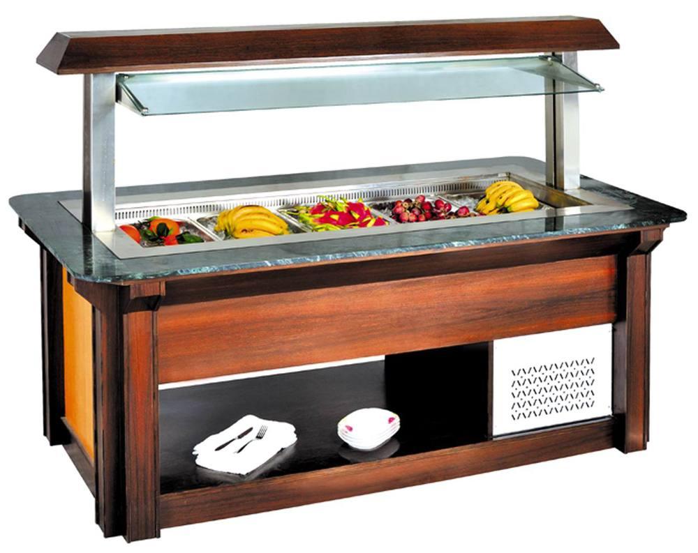 Product Bar Equipment ~ High quality square lift up salad bar wooden fridge