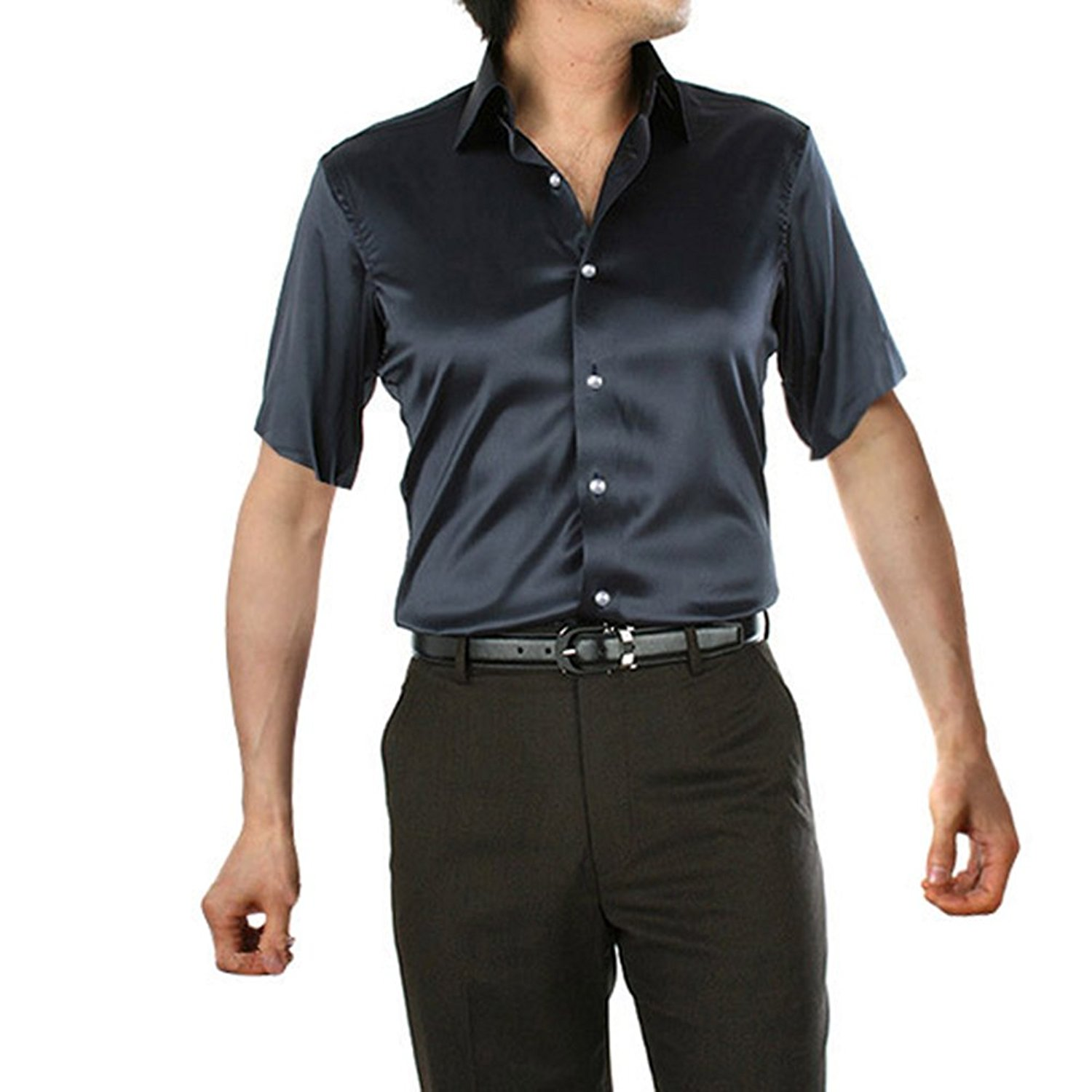 f1804f2e769f23 Get Quotations · ZFWLKJ Men s Fashion Shiny Regular-Fit Solid Color Dance  Prom Silk Like Dress Shirt