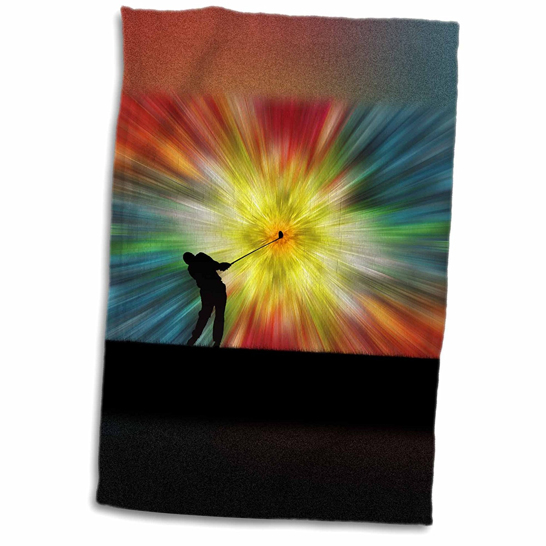 3dRose Phil Perkins - Graphic Design - Tie Dye Silhouette Golfer - colorful tie dye silhouette golfer driving - 12x18 Towel (twl_243447_1)