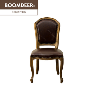 mid century modern louis round back replica wooden upholstered dining room chair leather for restaurant