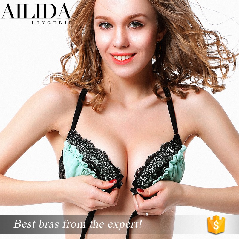 a670a62e276 Ailida Top Quality Fantasy Lingerie Front Closure Lace Bra With Crossback