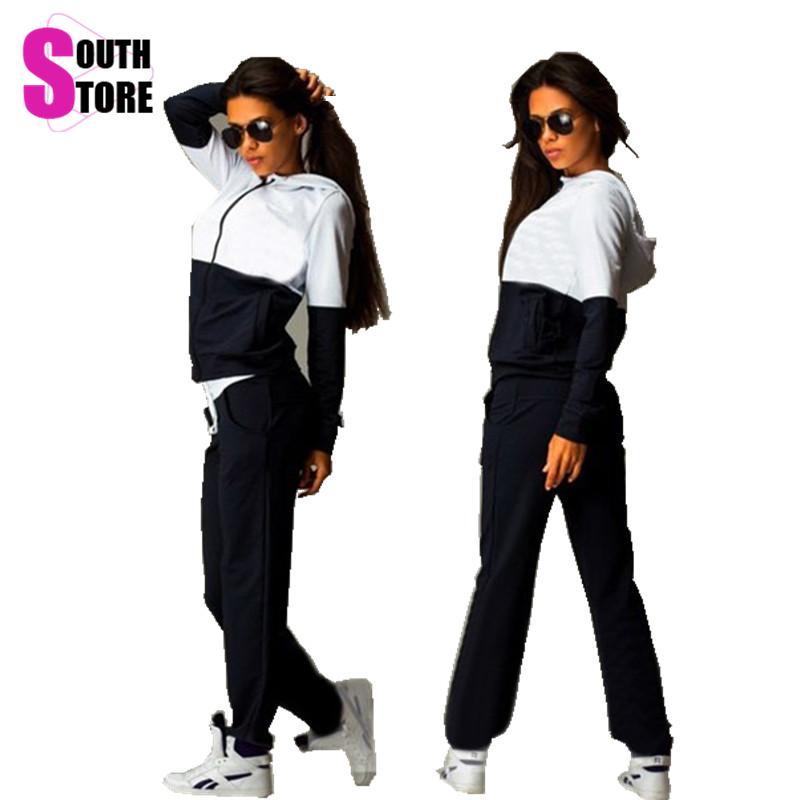 Southstore 2016 2 Piece Sport Set Women Full Sleeve Long Hooded Design Tracksuit Patchwork Zipper Female