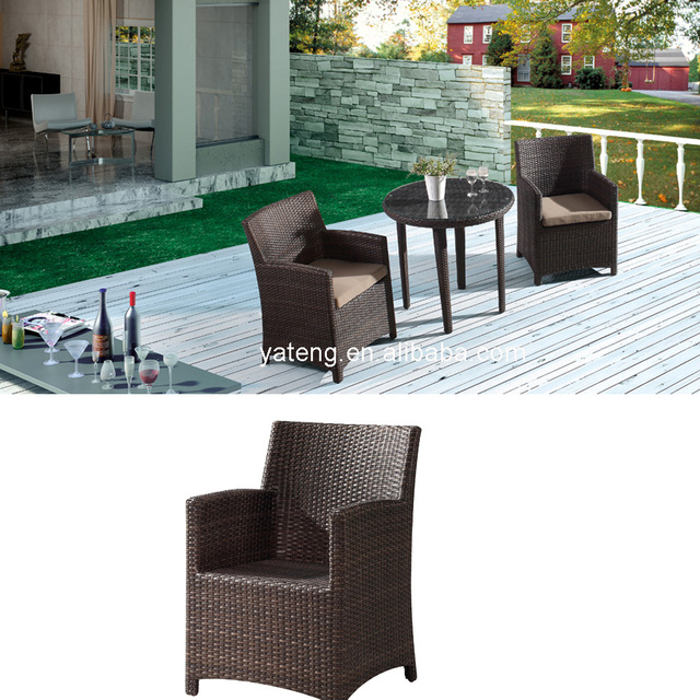 General Used Patio Table And Chairs Synthetic Rattan Outdoor Furniture 3 Pcs Garden Coffee Set