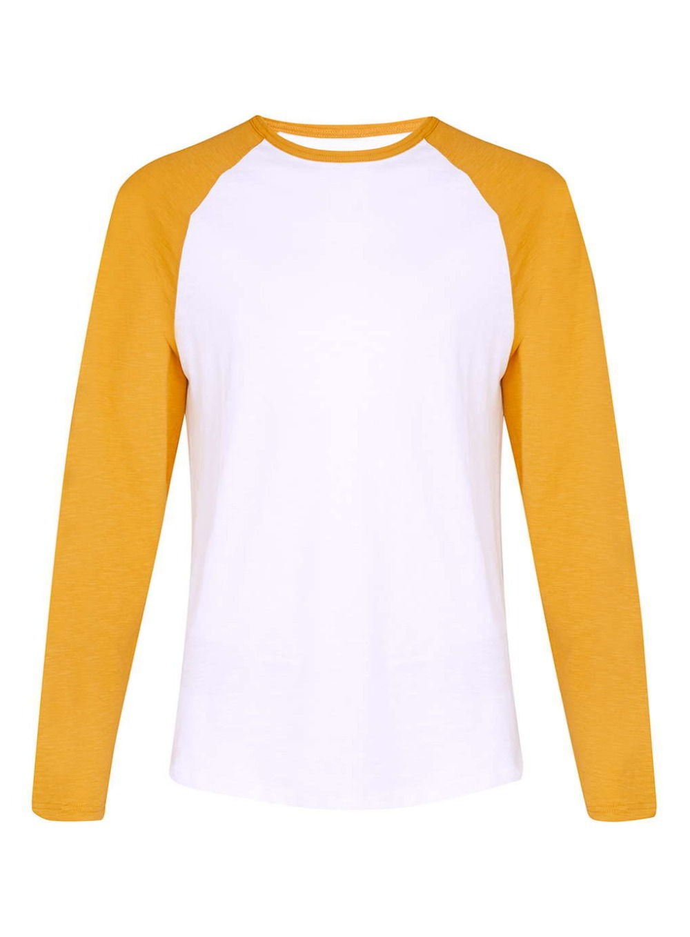 Yellow White Slub Long Sleeve Raglan Men Basic Plain Men T