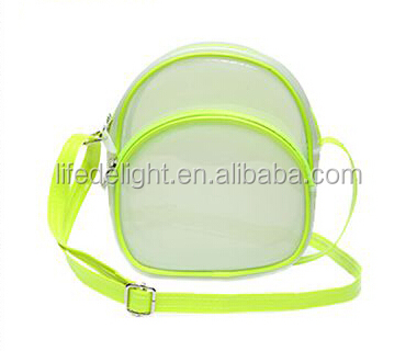 alibaba china customized promotion waterproof candy color white pvc shoulder bags kids toy bags