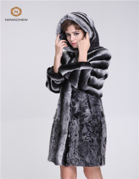China Wholesale Fashion WomWinter Coats Knitted Dyed Rabbit Fur Jacket Real Rabbit Fur Jacket Coat for Women Dyed Fur Garment