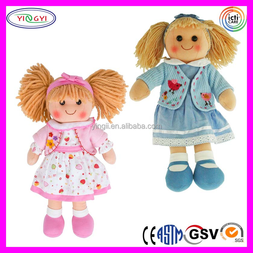 B084 Cute Girl Rag Doll Mascot Costume Headband Dress Skirt Doll Costume