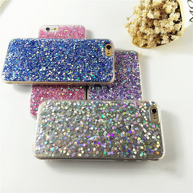 Luxury Bling Stars Back Cover Bling Glitter tpu Phone Case for iPhone 7 Plus