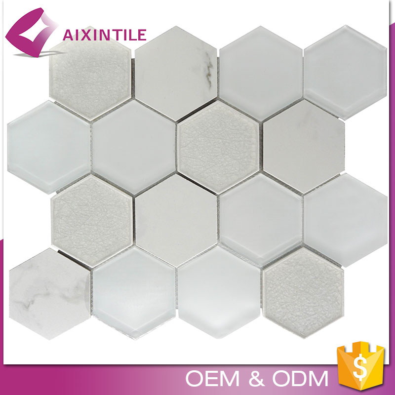 Foshan Non Colour Fading White Colour Hexagon Mosaic Tile