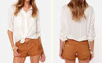 Women Hearted-Side Cutoff Brown Jean Frayed Hem Shorts With Lace
