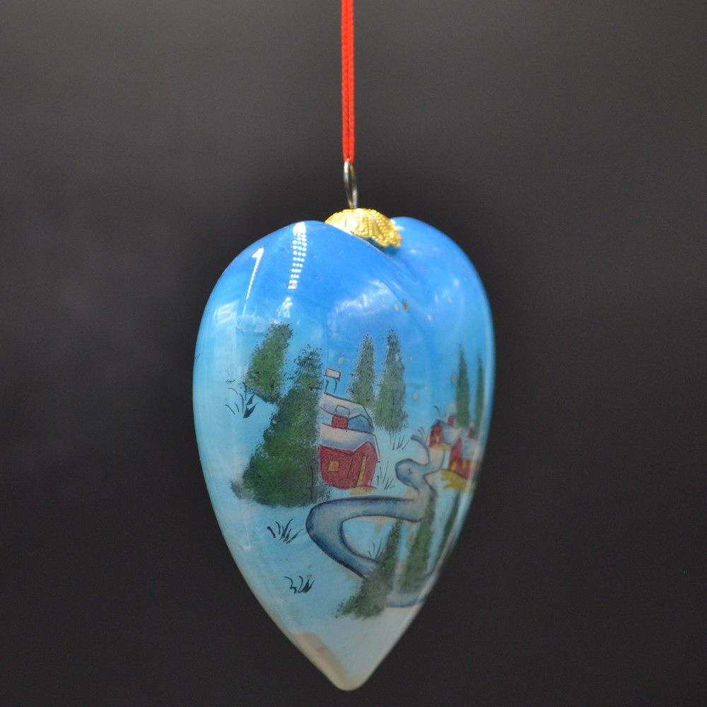 customized inside painting Christmas bauble hand painted by folk artist