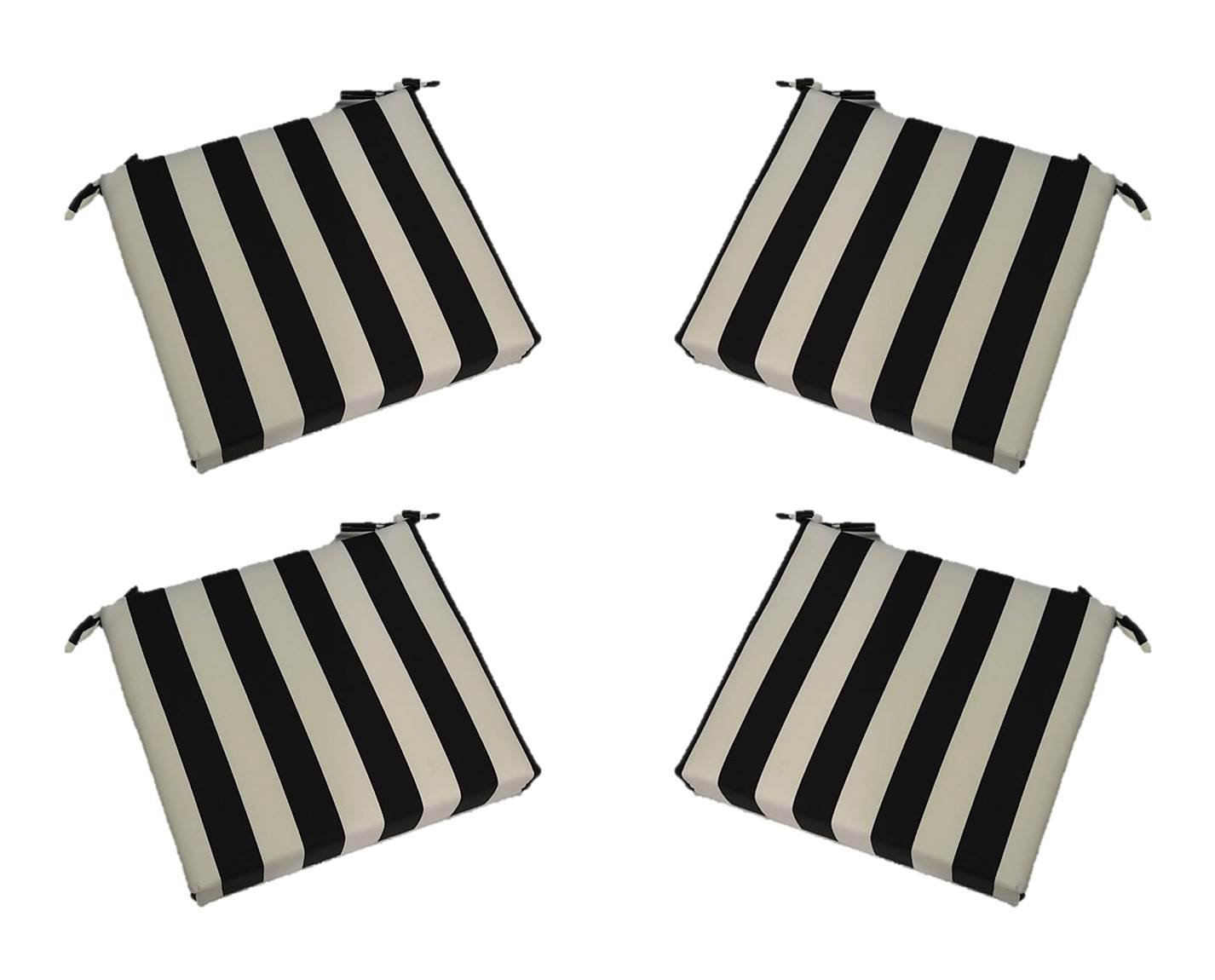 "Set of 4 - Indoor / Outdoor Black and White Stripe 17"" X 17"" Square Universal 3"" Thick Foam Seat Cushions with Ties for Dining Patio Chairs"