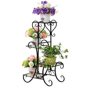 Plant Stand, Metal Flower Herbs Holder Garden Patio Shelves for 4 Plant Flower pot rack Display stand Indoor and Outdoor