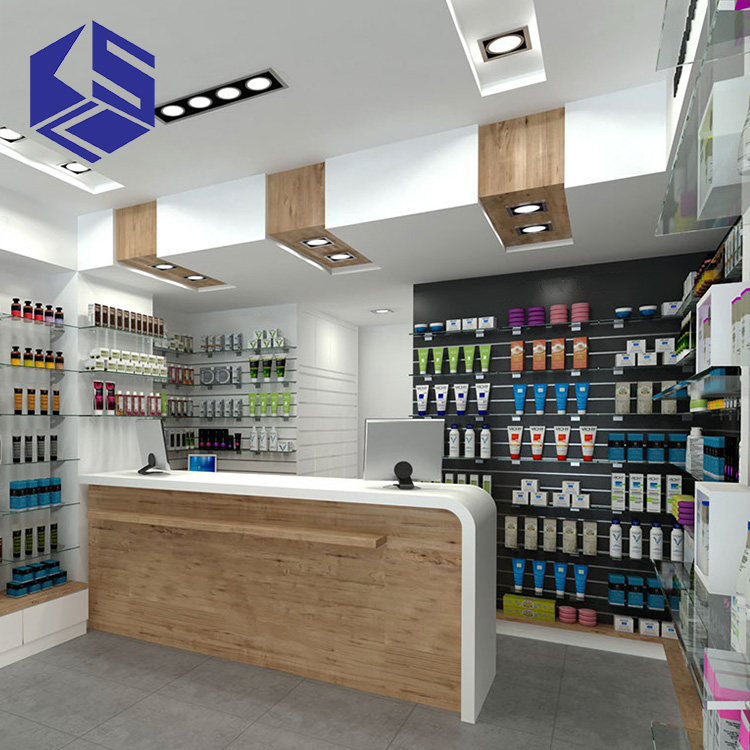 E1 mdf pharmacy shop counter design medical store display for Modern pharmacy design