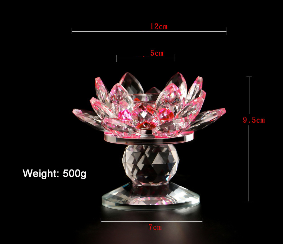 100mm Lotus flower wedding glass candlestick crystal  candle holders, luxury decorative tealight glass candle jar with base