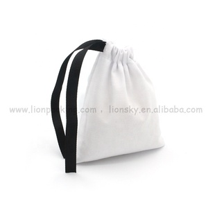 High quality small calico drawstring cotton bags with logo printed
