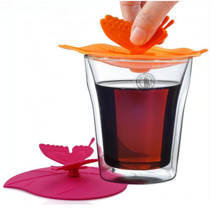 Butterfly Anti-dust Airtight Seal silicone mug cover silicone rubber tea cup cover