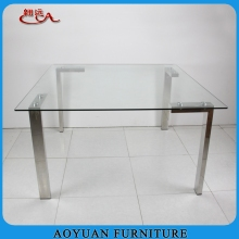 new big size clear glas square dining table