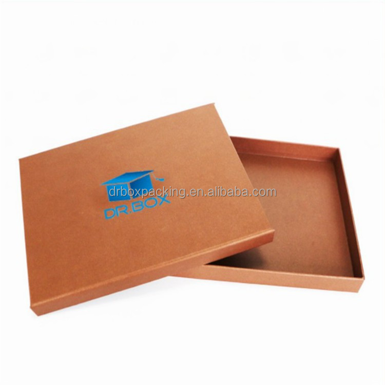 Plain brown die cut paper gift packaging folding corrugated cardboard box with plastic handle