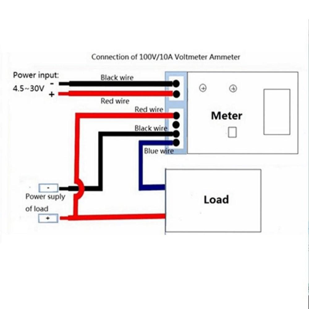 Alternator Gauge Voltmeter Wiring Diagram Detailed Diagrams New Dc 100v 10a Ammeter Blue Red Led Amp Dual Digital G And I