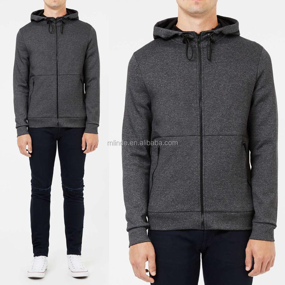 72299ee4a97 Men s Clothing Grey Salt and Pepper Zip Through Hoodie Wholesale Plain Black  Zipped Sweatshirts
