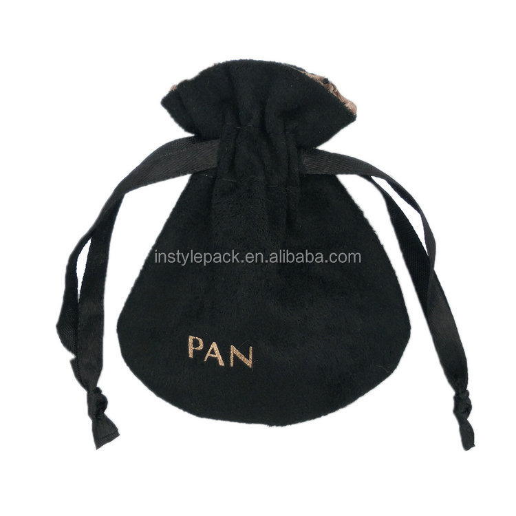 Free Sample Hot Stamp Logo Faux Suede Jewelry Velvet Pouch with Small Pocket