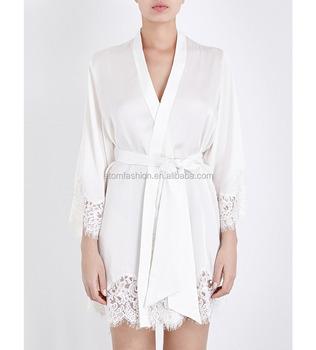 Customize Ladies Luxury Silk Satin Knee Length Robe,Sexy Lace Trim ...