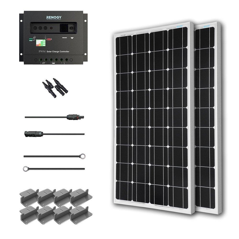 Renogy KT2RNG-100D-2 200W Mono Starter Kit, 2 Piece 100W Solar Panels Plus 20' Adapter Kit