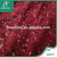 Fashion red african lace elastic sequin lace fabric use for ladies cocktail apparel
