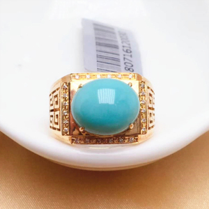 men's ring 18k gold real diamond luxury natural turquoise jewelry Wholesale Men Diamond fine Ring