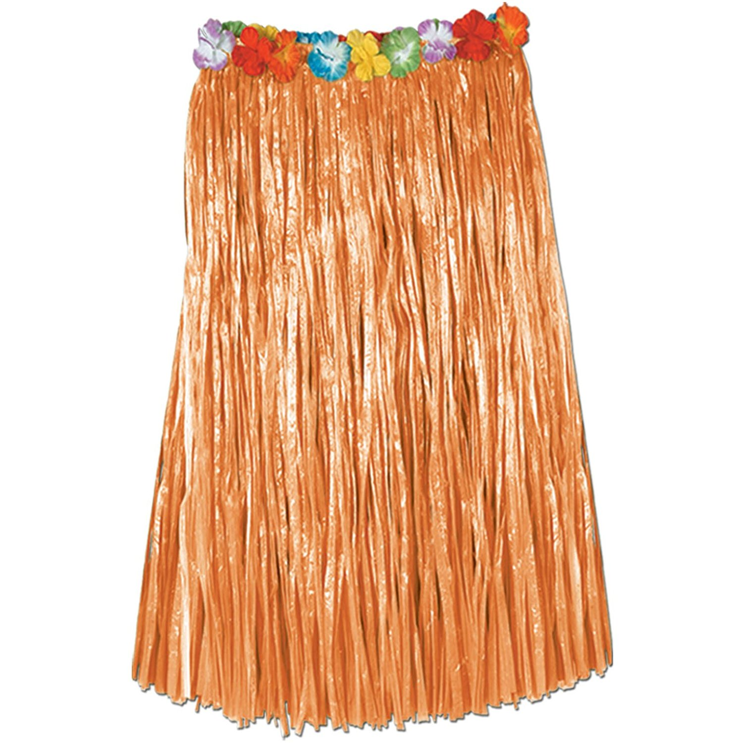 Adult Artificial Grass Hula Skirt w/Floral Waistband (natural) Party Accessory (1 count) (1/Pkg)