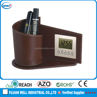Customized office pu leather pen holder with digtal clock manufacturer