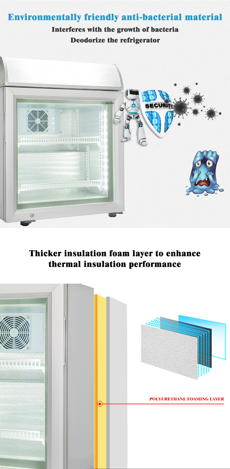 SD-55B Glass door upright vertical commercial display mini ice cream refrigerator and freezer