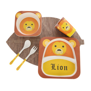 Kitchen Accessories Amazon Top Seller 2019 Bamboo Fiber Animal Salad Children Dish Cup Fork Spoon Tableware Sets