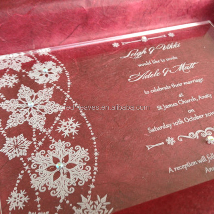 Clear Acrylic Wedding Invitations With Engraving Black Or White