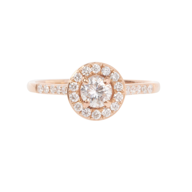 OEM Customized 925 Sterling Silver 18k Rose Gold Plated Diamond Halo Ring Jewelry