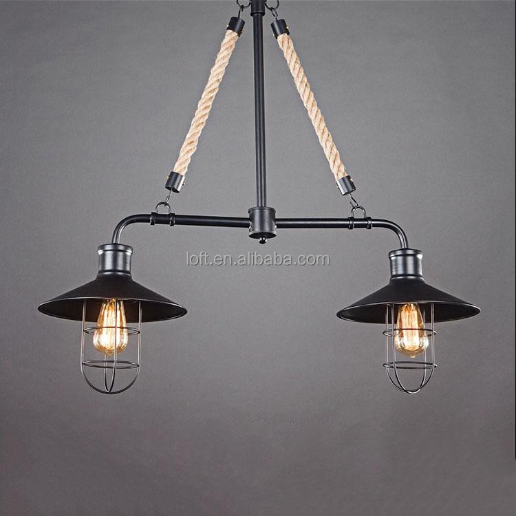 2 teste vintage ferro luce del pendente country americano corda di ...